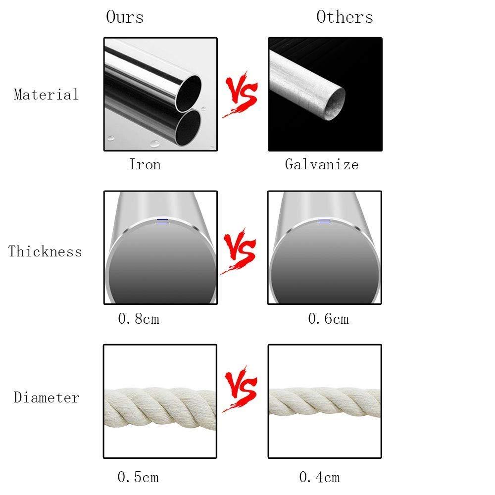 Tejida con Cuerda de Algod/ón con Bordados de Tema Rom/ántico Estilo Hamaca Tejida en Macram/é para Interior//Exterior JKsmart Silla Hamaca Colgante Peso m/áximo de 120kg
