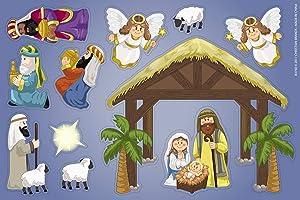 Religious Nativity Manger Scene Magnet Decal Set
