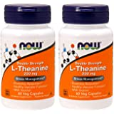 Now Foods L-Theanine 200 Mg 60 Veg Caps Pack of 2