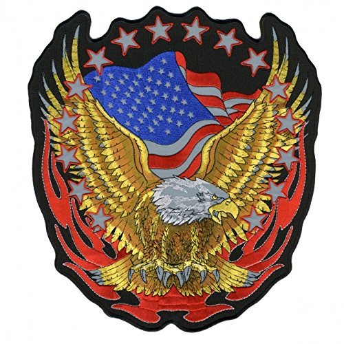 Hot Leathers, EAGLE, High Thread Embroidered Iron-On / Saw-On Rayon REFLECTIVE PATCH - 10