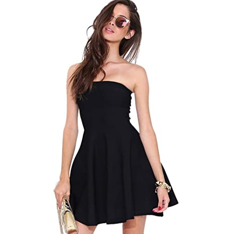 Womens All Black Strapless Tube Top Stretchy Skater Dress - Black -: Amazon.co.uk: Clothing