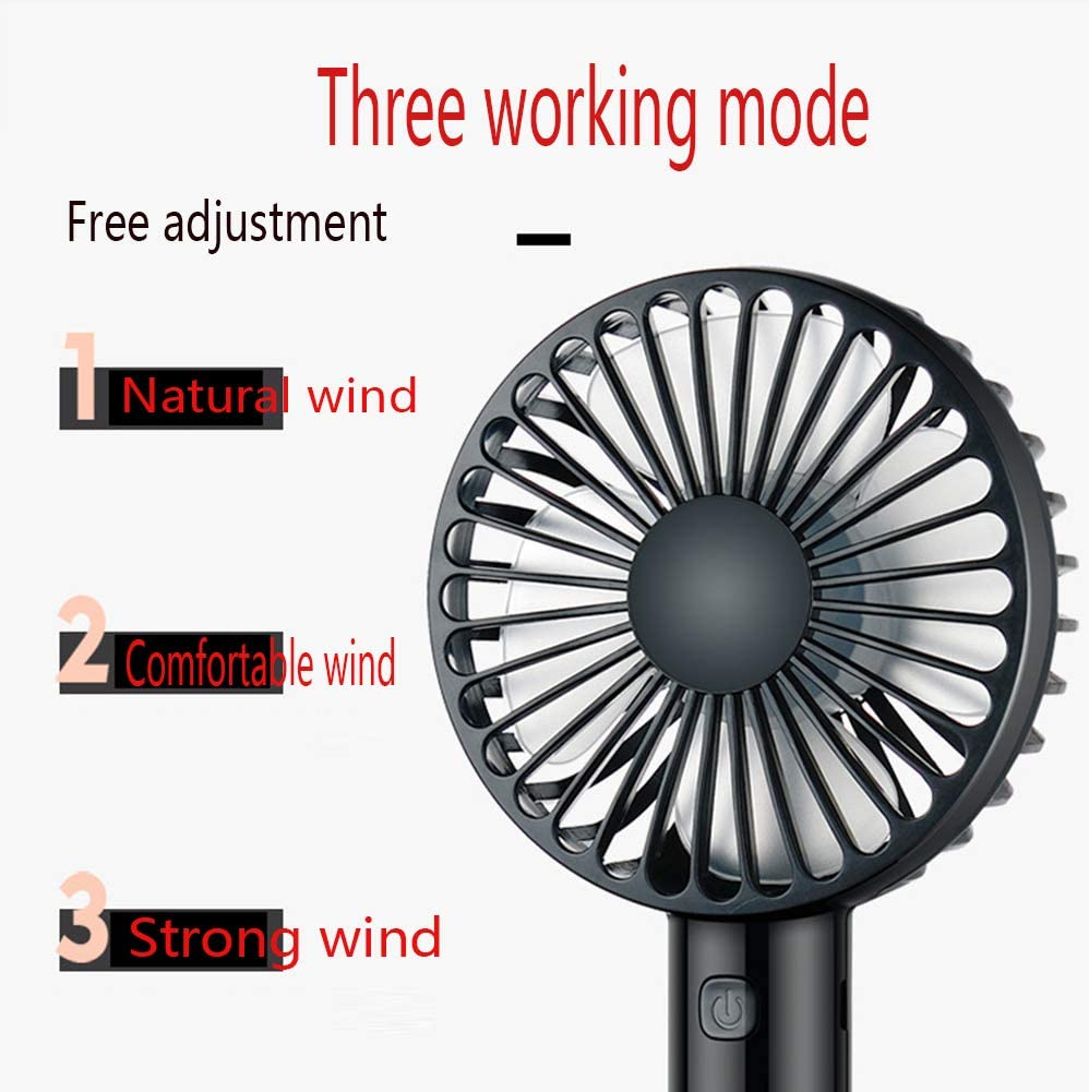 YANGYA Mini Handheld Fan USB Desk Portable Desktop Table Cooling Rechargeable Electric Fan for Home Office Travel Outdoor-Black