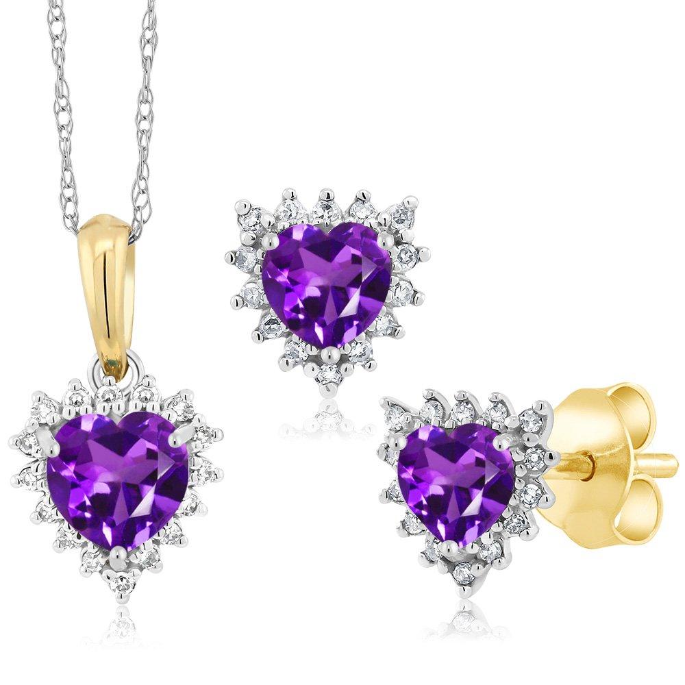 18K Two Tone Gold 1.15 Ct Heart Purple Amethyst and Diamond Pendant Earrings Set