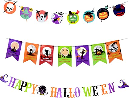 Happy Halloween Skull Spider Letter Banner Window Festival Garland Flag Supplies