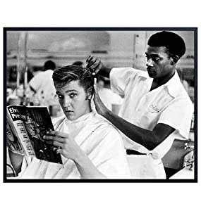 Vintage Elvis Presley Photo, Wall Art Decor - Barbershop Haircut Photograph for Salon, Barber Shop, Bathroom, Living Room, Bedroom - Gift for Country Music, Graceland Fan, Hair Stylist - 8x10 Poster