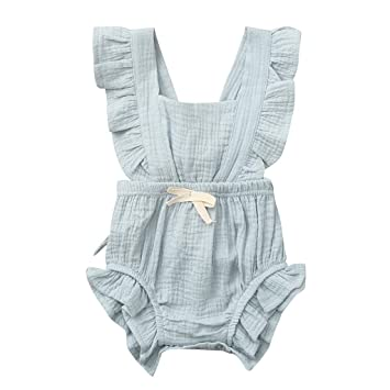 Newborn Infant Baby Girls Color Solid Ruffles Backcross Romper Bodysuit Outfits