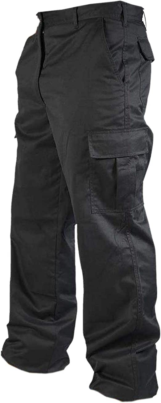 34W - 31 Reg Leg, Black Mens Cargo Combat Work Trousers Sizes 28-52 Workwear Pants