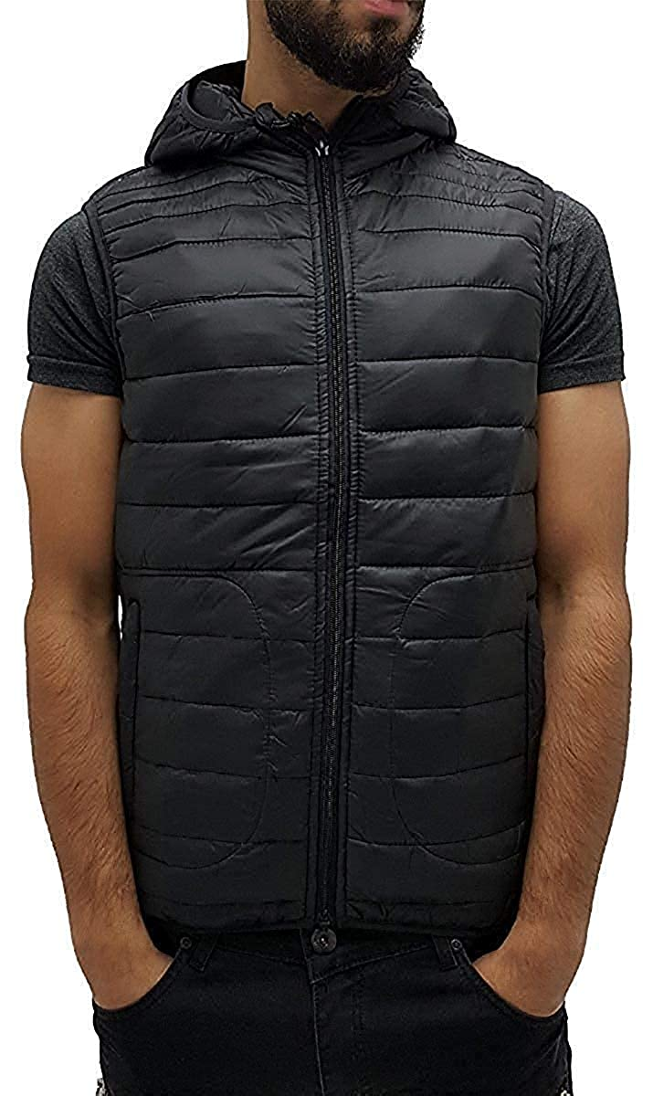 Big Dawg Special Mens Black Quilted Padded Lightweight Hoodie Gilet Body Warmer