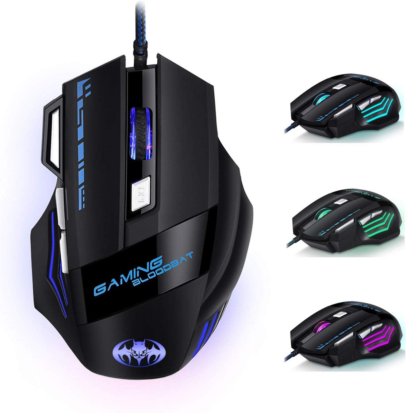 Ratón Gaming - iAmotus Ratón Gaming Óptico[7200 DPI Ajustable] Ratón Gamer Con Cable y 7 Botón, Ratón Ergonómico Retroiluminación RGB para Windows Vista/ Linux/Mac OS/PC/Computadora Portátil