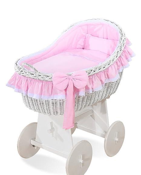 Cesta de mimbre para bebé, color blanco, con ruedas, para ropa de cama