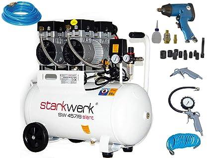 Fuerte de Silent Impresión Compresor De Aire SW 457/8 sin aceite 50L Caldera Set