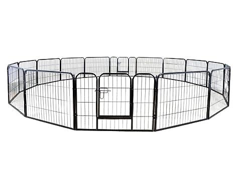 16 Paneles Metal Mascota Perro Cachorro Gato Ejercicio Valla Barrera Parque de