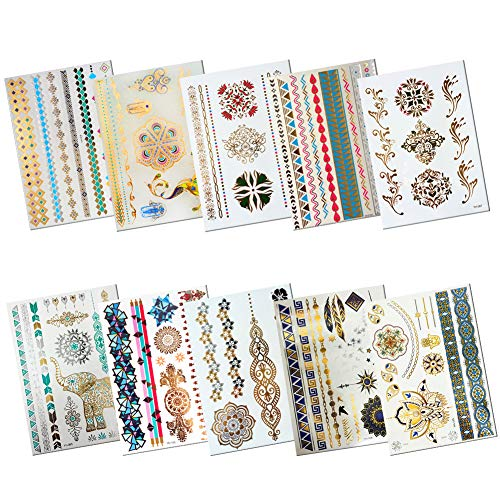 10 Sheets Gold Tattoo Stickers for Women,Wristband Finger Eyes Arm Wrist Multicolor Face Temporary Tattoos, Elephant Temporary Body Art Tattoos with Wedding Bridal Butterfly Mandala Flower