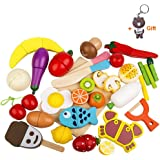 HOWADE Play Food Set 30 PCS, Wooden Cutting Food Magnetic Fruits and Vegetables Kitchen Set Educational Toy for Preschool Age Kids Toddlers Boys Girls