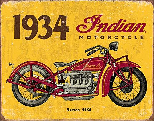 "Desperate Enterprises 1934 Indian Motorcycle Tin Sign, 16"" W x 12.5"" H"