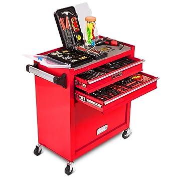 Greencut TOOLS-881 - Banco/carro de herramientas, taller móvil con ruedas, 881 piezas para uso doméstico y semiprofesional