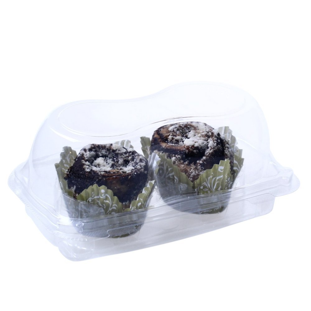 OccasionWise Premium Clear Muffin Containers | 2 Large Compartment | with Hinged Lid to Keep Your Cupcakes Delicious & Fresh | Pack of 12