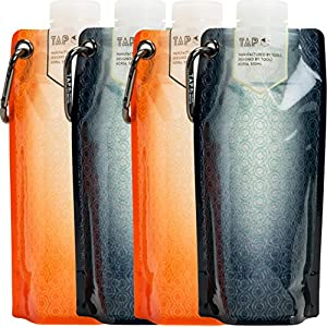 Tap Antibacterial Collapsible Water Bottle BPA Free Flat Hydration Soft Canteen (Navy 2 + Orange 2)
