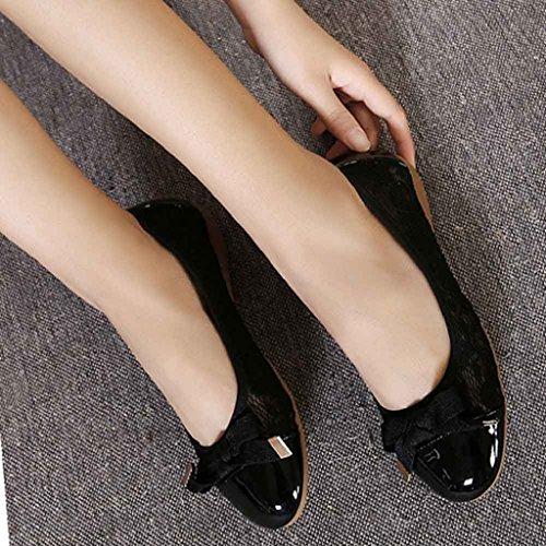 Ularma Zapatos de las mujeres de cuero, Pisos Casual de mujer zapatos de ballet plegable negro