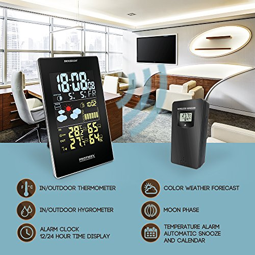 Wireless Weather Station, Protmex EM3352C Wireless Digital Color Forecast Station with Alerts Alarm Clock with Forecast, Temperature, Humidity, Barometric Pressure, with Outdoor Sensor Photo #8