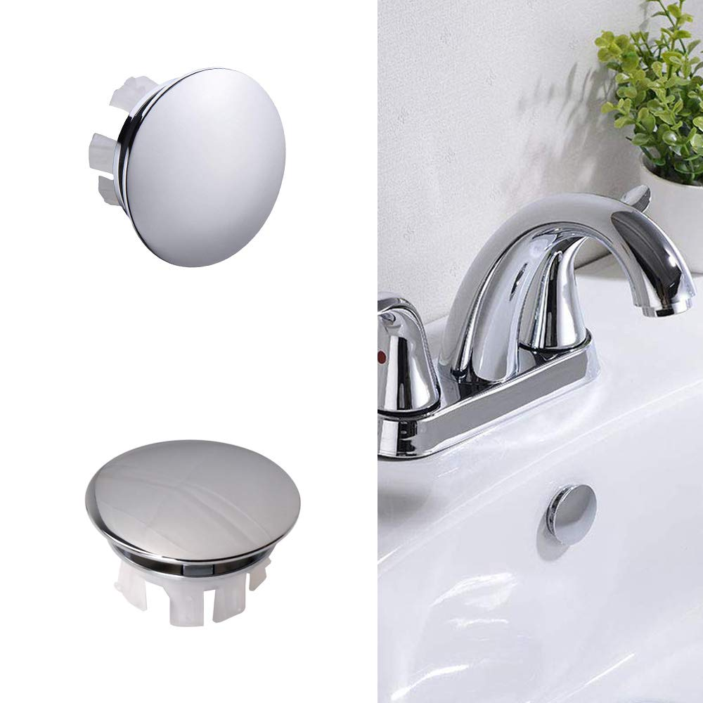 SuperMore Vanity Sink Overflow Cover Basin Sink Ceramic Bathroom Vessel Kitchen Basin Trim Remplacement Oval Caps Plastic Insert in Hole Pack of 2 Silver