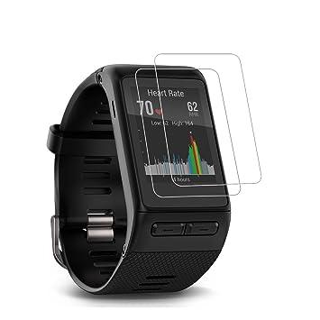 (Paquete de 2) Garmin Vivoactive HR Screen Protector, cobertura completa 9H Dureza de