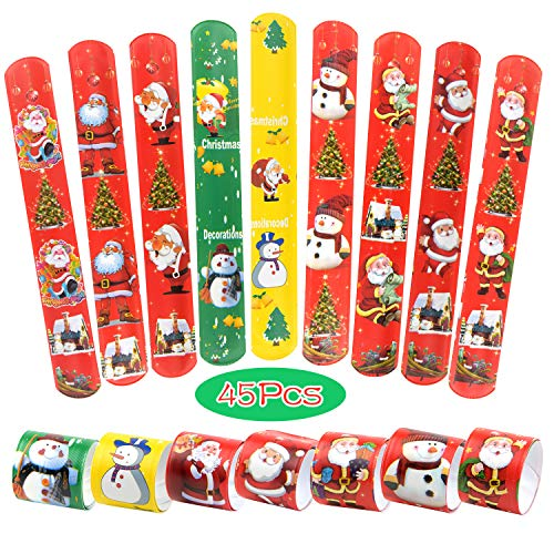 TUPARKA 45 PCS Christmas Slap Bracelets Slap Wrist Bands with Santa Claus Snowman Christmas Tree Patterns for Kids Christmas Party Bag Fillers Favours Holiday Goodie Bag Little Toys (45 Pcs) (Party Christmas Places Trading)