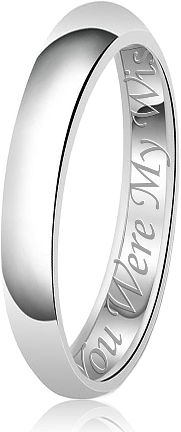 His & Her Engraved Classic Sterling Silver Plain Wedding Band Ring