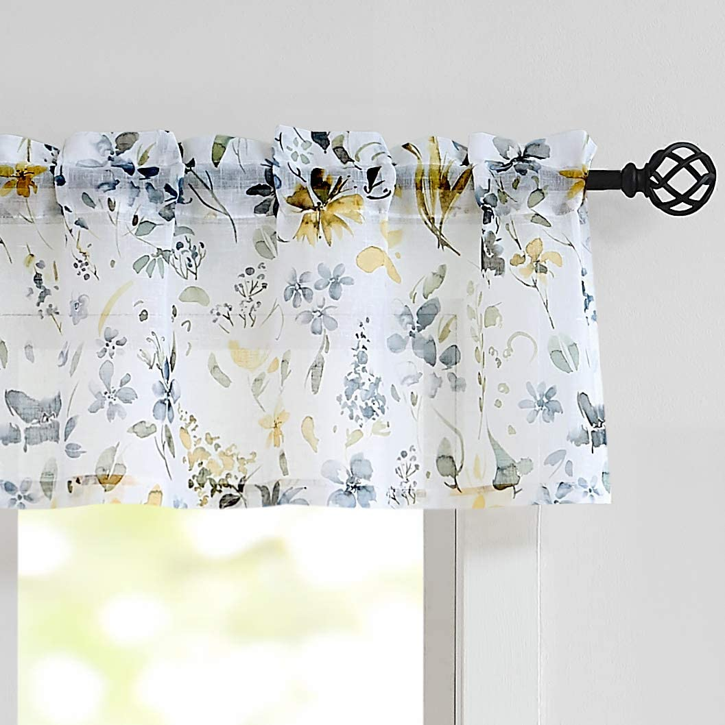 """Fragrantex Window Valance Kitchen Curtains 15 Inch Length Yellow and Grey Flower Print on Linen Texture Sheer Short Tiers for Bathroom 56"""" Wx 15"""" L Multi-Color, 1 Panel"""