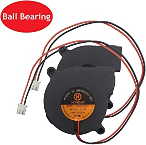 2 Packs 50x50x15mm 5015 DC Brushless Blower Cooling Dual Ball Bearing Fan for 3D Printer and Other Small Appliances Series Repair Replacement,2Pin 6000rpm,UL (24V Dual Ball Bearing)