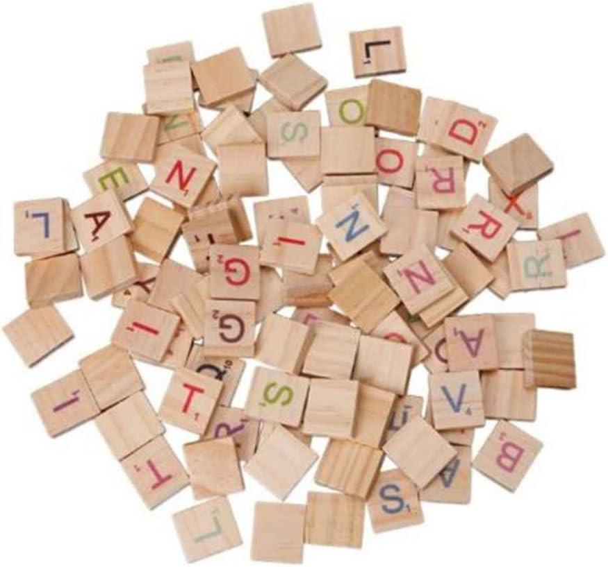 fish 100 Piezas de Madera Scrabble Azulejos del Alfabeto Juguetes Letras de Madera Azulejos del Alfabeto Artesanía de Madera para los Niños: Amazon.es: Hogar