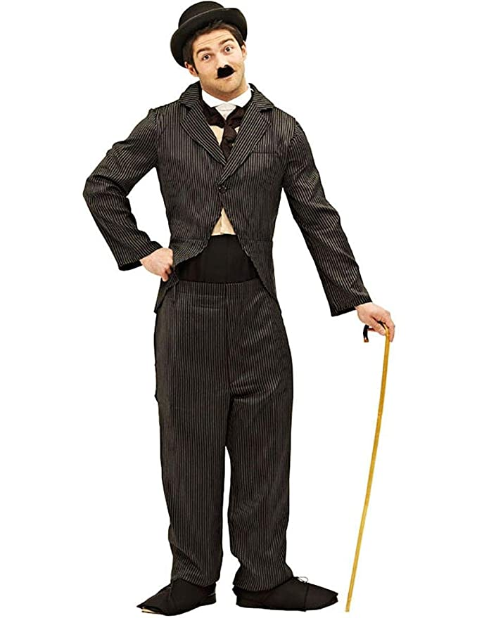 1920s Men's Costumes: Gatsby, Gangster, Peaky Blinders, Mobster, Mafia Orion Costumes Mens Charlie Chaplin 1920s Silent Movie Star Fancy Dress Costume Black $73.21 AT vintagedancer.com