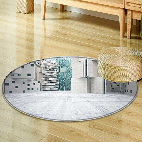 Small round rug Carpet?abstract background in the form of high rise buildings made of dark concrete wi?door mat indoors Bathroom Mats ?Non Slip?-Round 63""