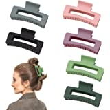 Hair Claw Clips, 6PCS Strong Hold Rectangle Claw Hair Clips Matte Solid Color Hair Jaw Clamp Non-Slip Catch Hair Styling Acce
