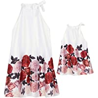 PopReal Mommy and Me Sleeveless Ruffle Collar Flower Lace Bowknot Tie Skater Dress Family Matching Outfits