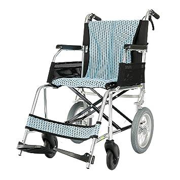 Sillas de ruedas Viaje para Personas Mayores Carro portátil Plegable Scooter pequeño Puede soportar 100 kg (Color : Blue, Size : 52 * 94 * 90cm): Amazon.es: ...