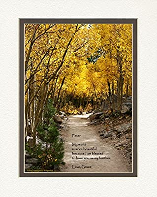 "Personalized Gift for Brother with ""My World Is More Beautiful Because I Am Blessed to Have You As My Brother."" Aspen Path Photo, 8x10 Double Matted. Special Birthday, Christmas Brother Gifts."