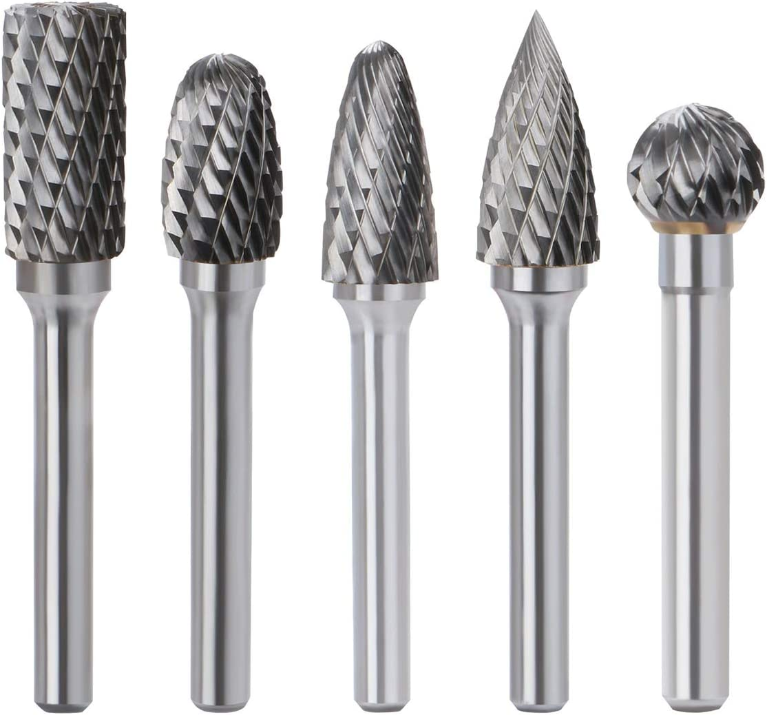 5pcs Tungsten Carbide Rotary Burrs Double Cut Head For Electric Pneumatic Tools