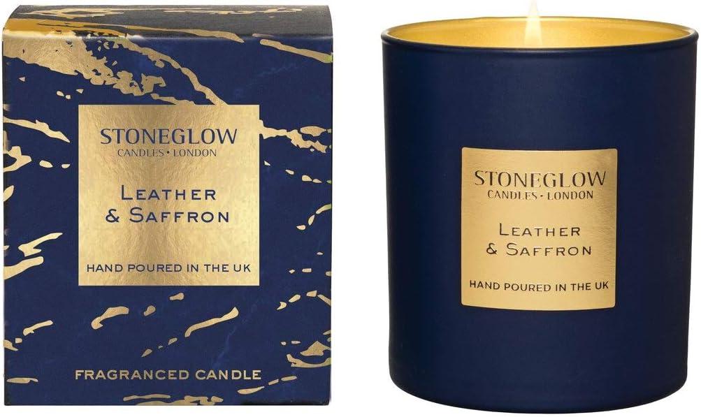Stoneglow Seasonal Scents Luna Cuir et Safran Gobelet Candle dans une bo?te Livr