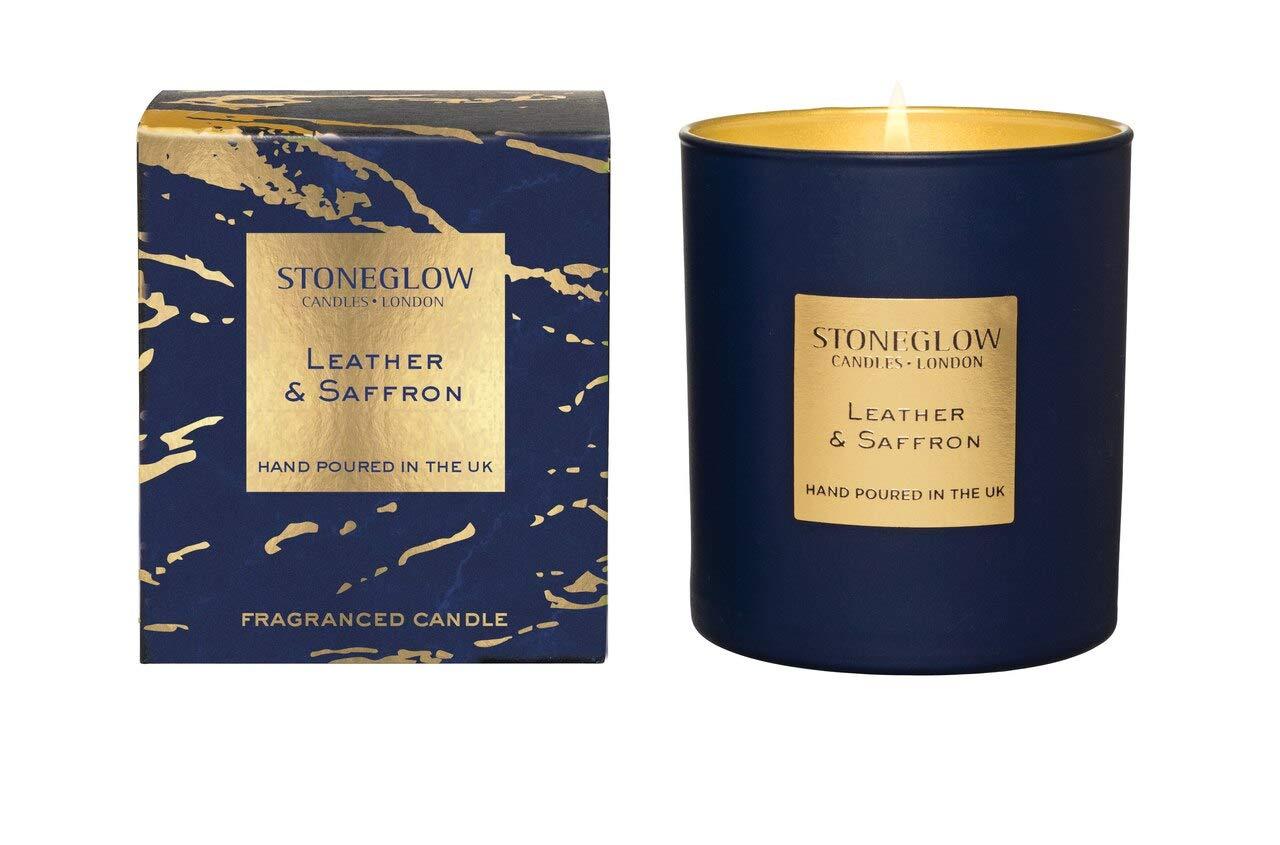 StoneGlow Seasonal Scents LUNA Leather & Saffron Tumbler Candle- Boxed