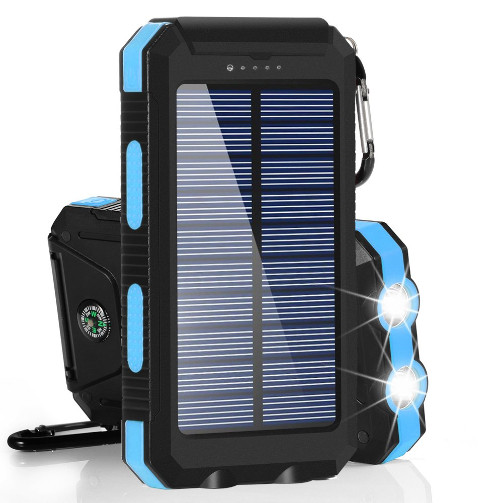 Solar Charger, BESWILL 10000MAH Solar Phone Charger Waterproof External Battery Pack Dual USB Solar Power Bank with 2 Flashlights Carabiner and Compass Compatible with iPhone and Other Smart Devices by BESWILL