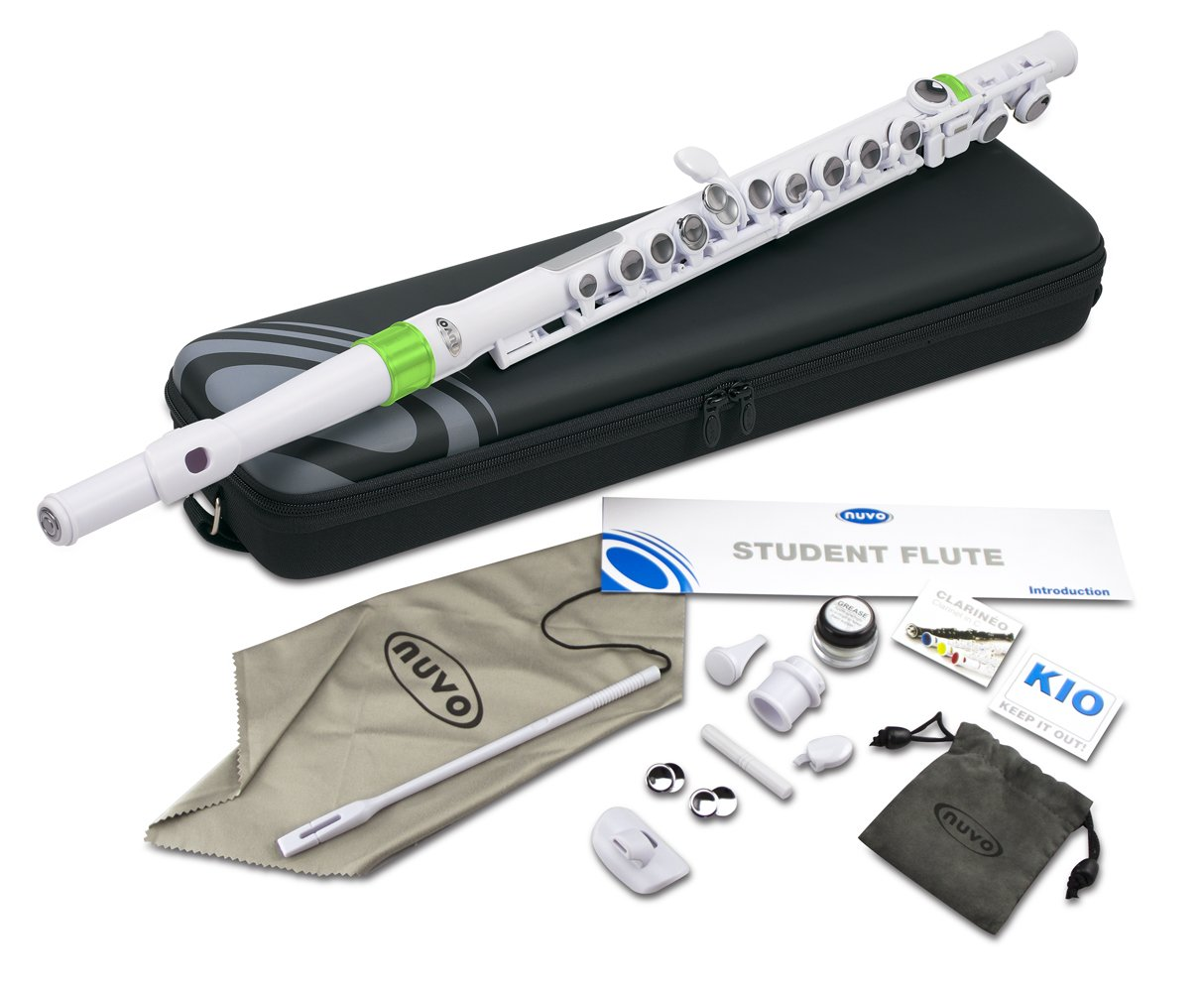 Nuvo N210SFGN Student Flute Kit with Straight Head, C-Foot, Case and Accessories-White/Green