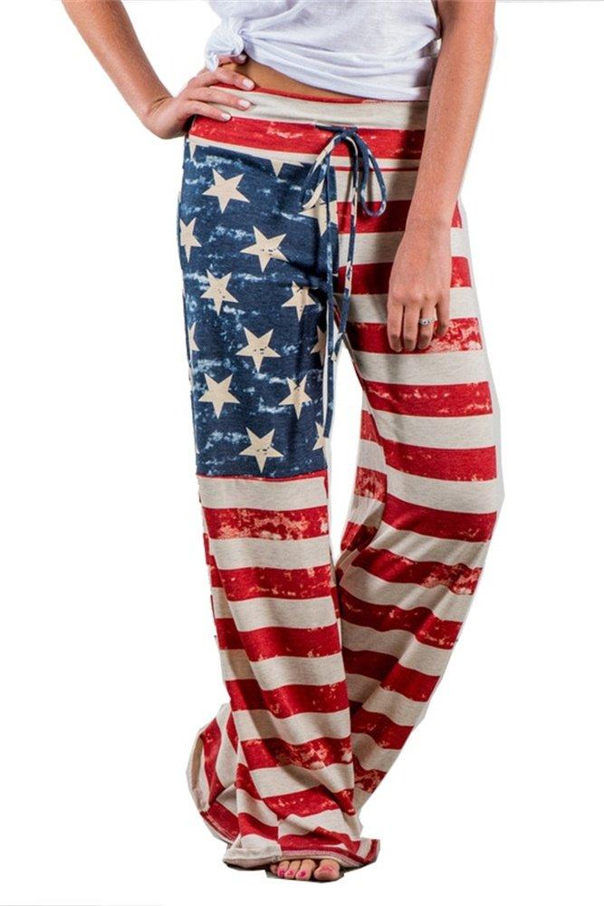 WFTBDREAM High Drawstring Waist Wide Lounge Pants Women Palazzo Lounge American Flag L