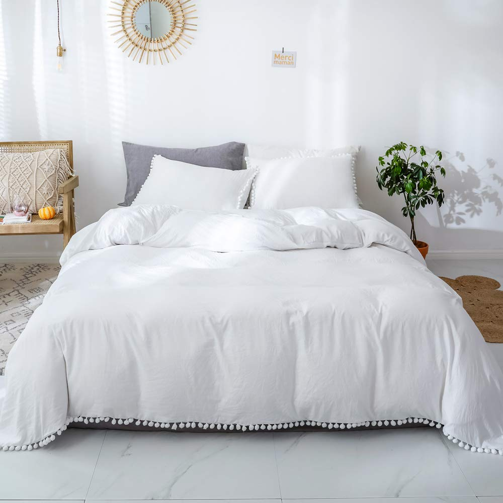 Smoofy Bedding Duvet Cover Set Ball Pom Fringe Bedding Pillowcase Sets (Queen, White)