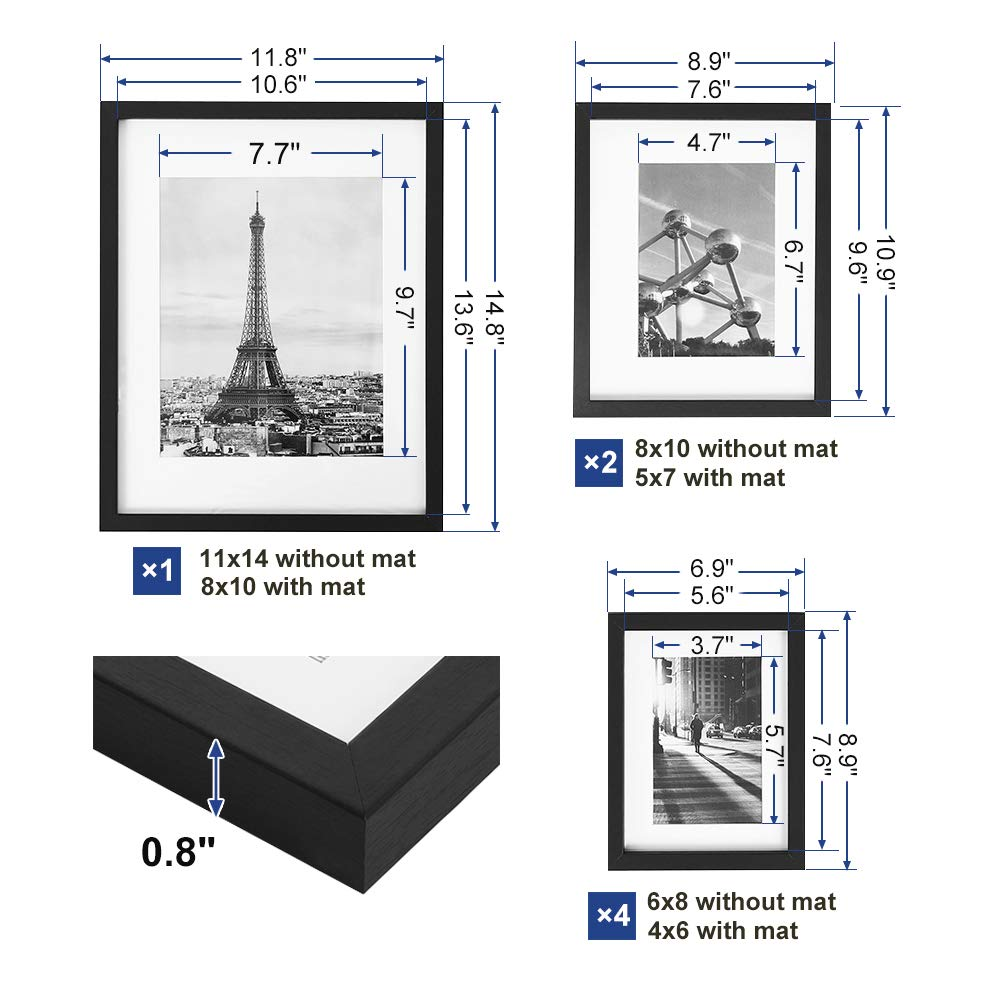 SONGMICS Picture Frames Set of 7 Pieces, One 11 x 14 Inches, Two 8 x 10 Inches, Four 6 x 8 Inches, with White Mat Real Glass, for Multiple Photos, Black Wood Grain URPF37BK by SONGMICS (Image #7)
