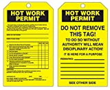 Accuform Signs TDR386 Refill Quick Tags Inspection and Status Record Tag Dispenser, Legend''HOT WORK PERMIT'', 6.25'' Length x 3'' Width x 0.010'' Thickness, PF-Cardstock, Black on Yellow (Pack of 100)