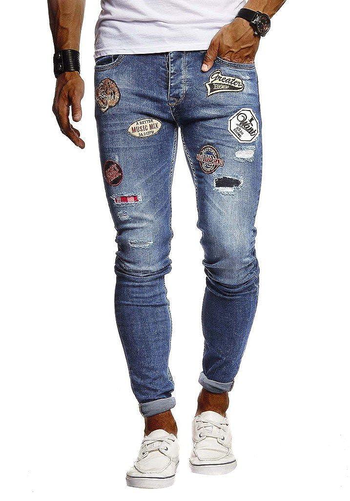 LEIF NELSON Vaqueros del Mens Pantalones Vaqueros se extienden Corredores 5-Bolsillo de Mezclilla Pantalones Slim Fit