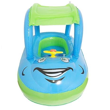Faironly Tragbarer aufblasbarer Babysitz mit Schlauchring f/ürs Auto mit Sonnenschutz und Lenkrad f/ür Schwimmbecken blau