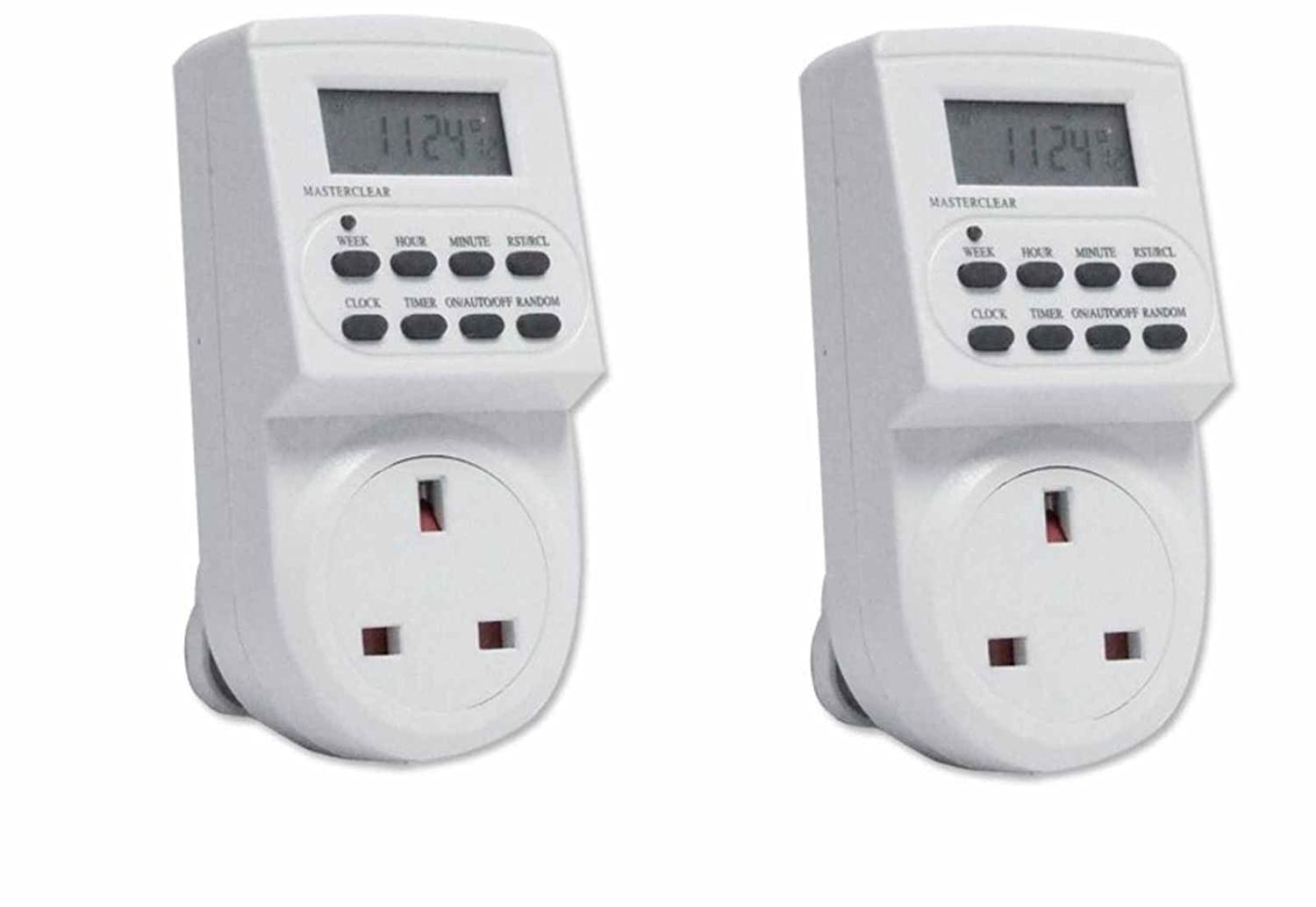 2 x Pifco Plug in 7 Day 24 Hor Digital Programmable 12/24 Socket Timmer Switch