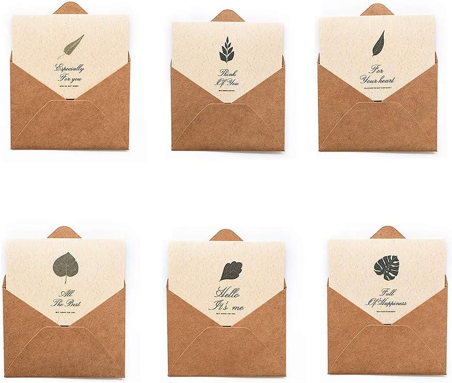 6PCS 감사 카드 접기 감사 카드 와 일치 하는 녹색 재활용 봉투 결혼식 아기 샤워